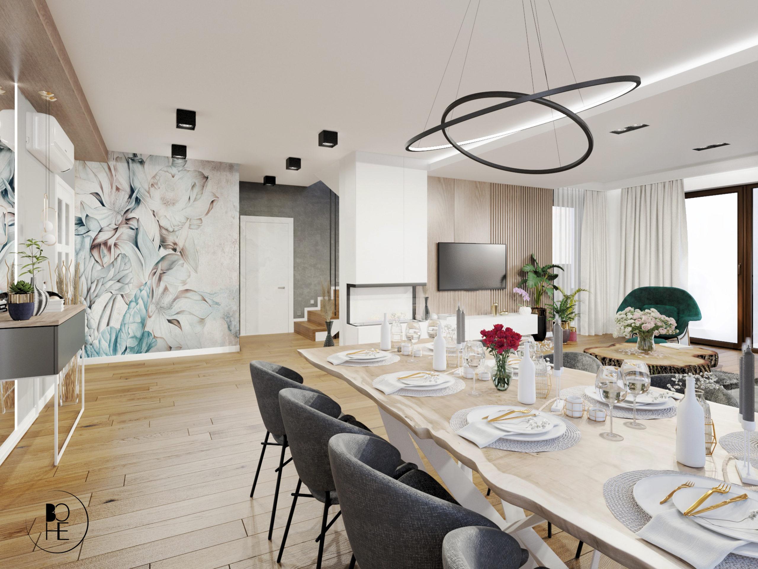 architekt wnętrz białystok projekt wnętrza dużego salonu jadalnia z drewnianym stołem