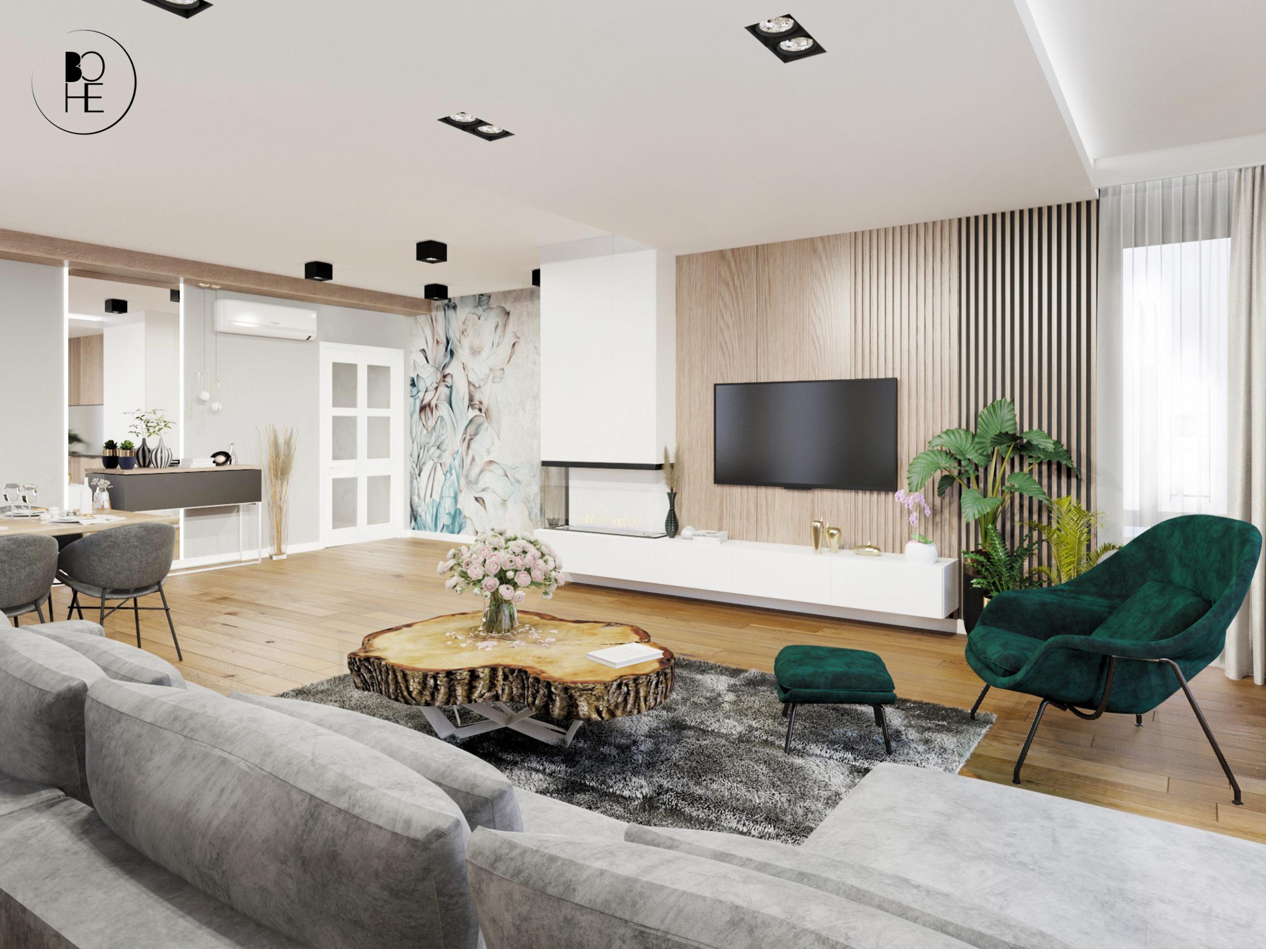 architekt wnętrz białystok projekt wnętrza salonu w domu jednorodzinnym ściana z telewizorem