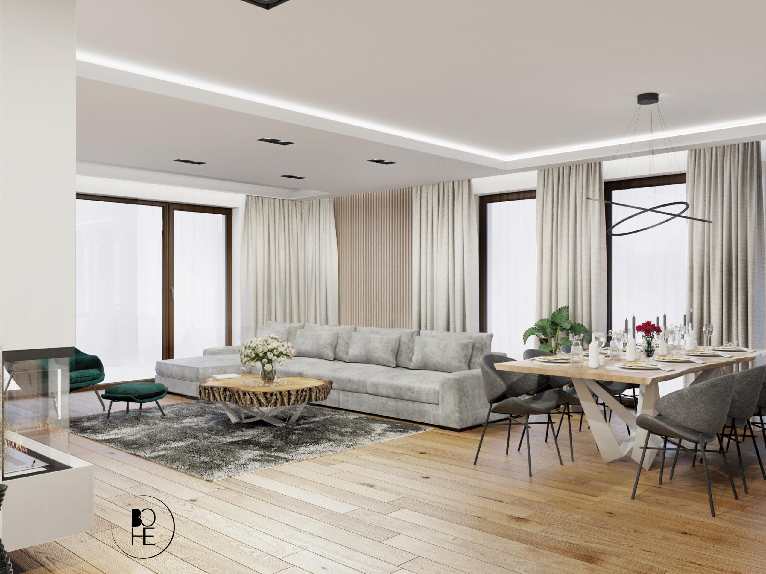 biuro projektowe białystok salon połączony z duża jadalnia i kuchnia