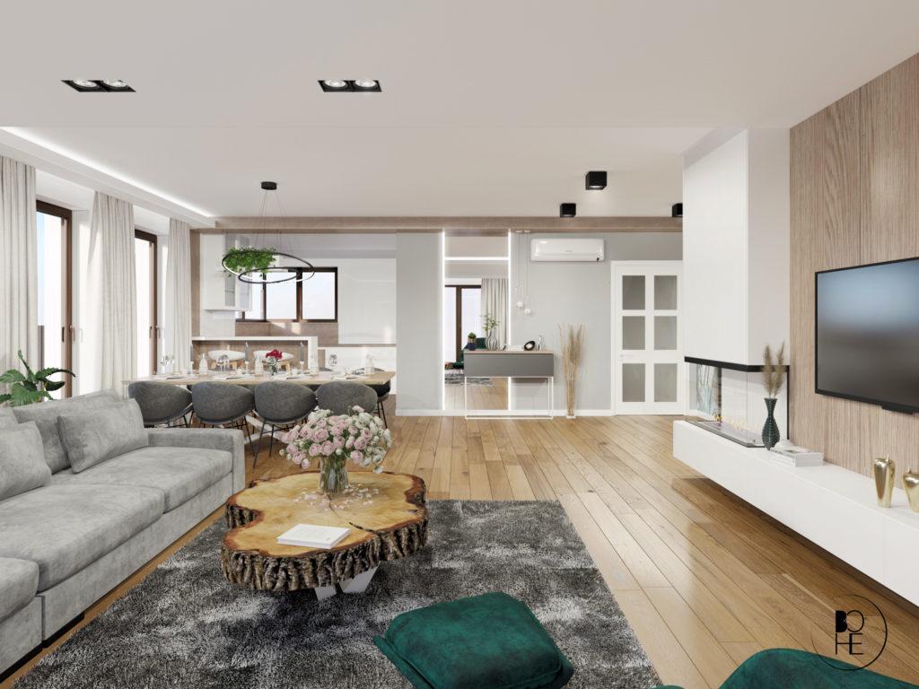 biuro projektowe białystok salon połączony z jadalnia i otwartą kuchnia bohe architektura