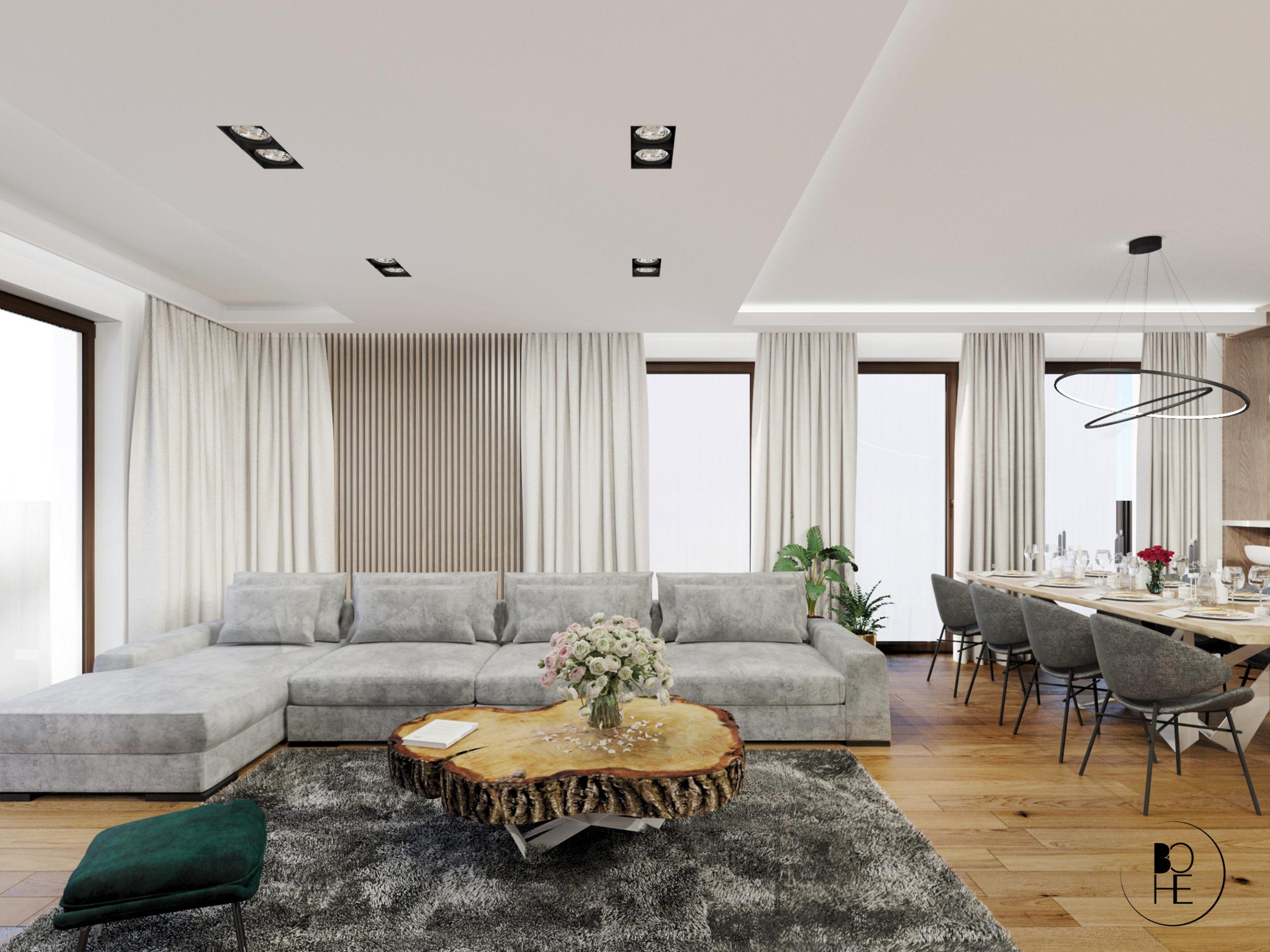 projektant wnętrz białystok salon połączony z jadalnia z dużą sofa