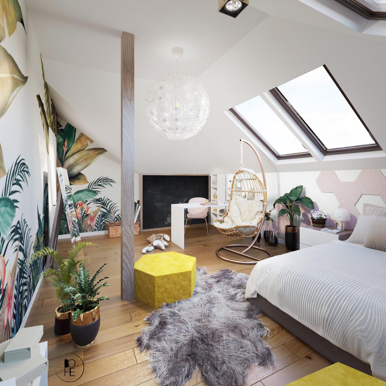 architekt Białystok projekt wnętrz pokoju dla dziecka w domu z tapeta w liście miejscem do spania i nauki