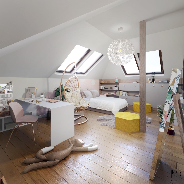 architekt wnętrz Białystok pokój dla dziecka na poddaszu z oknami dachowymi