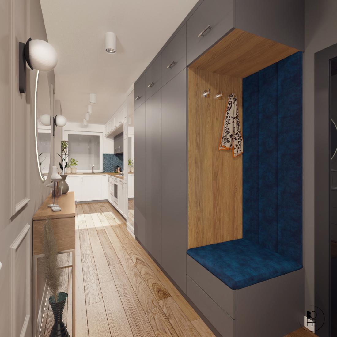 architekt wnętrz białystok projekt korytarza z szafa