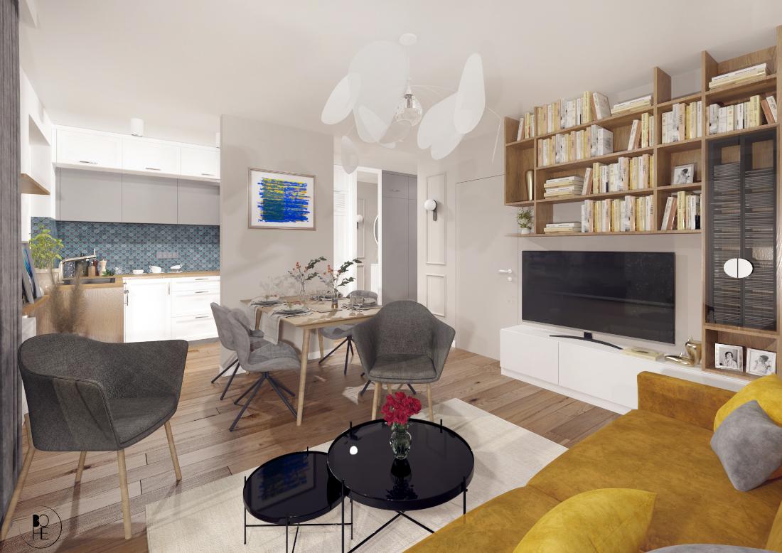 architekt wnętrz białystok projekt salonu z musztardowa sofą