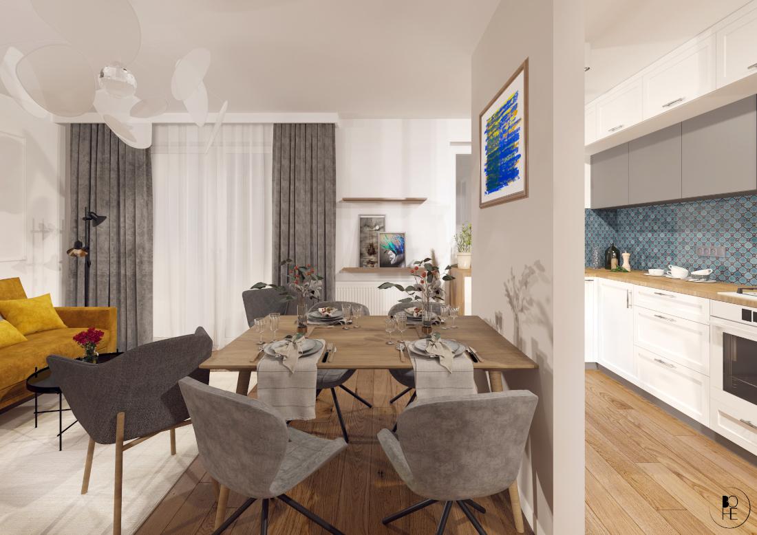 biuro architektoniczne białystok aranżacja salonu z drewnianym stołem