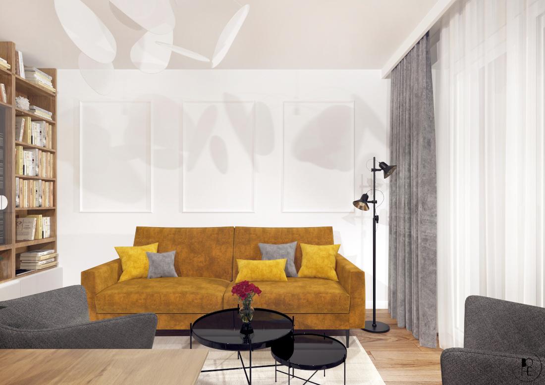 biuro architektoniczne białystok salon z musztardowa sofą