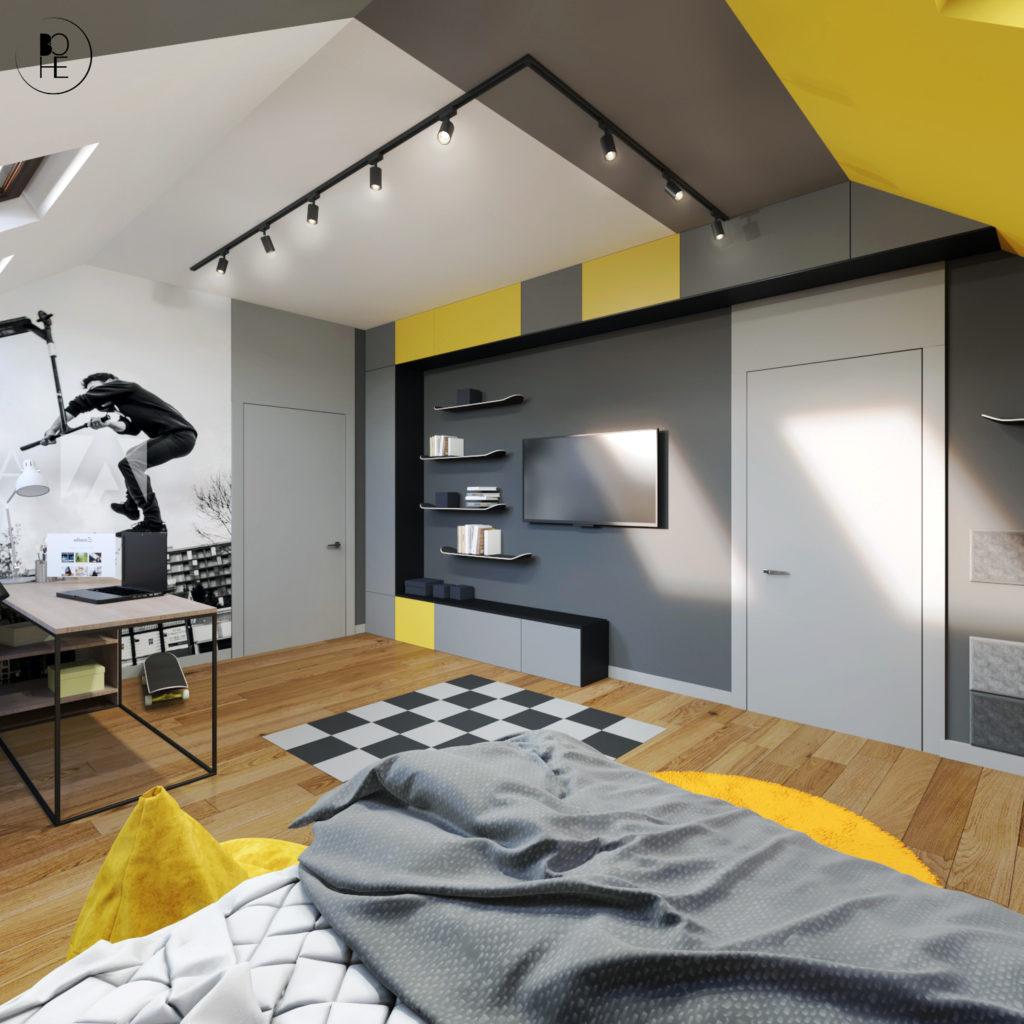 biuro projektowe białystok pokój dla chłopca w domu jednorodzinnym