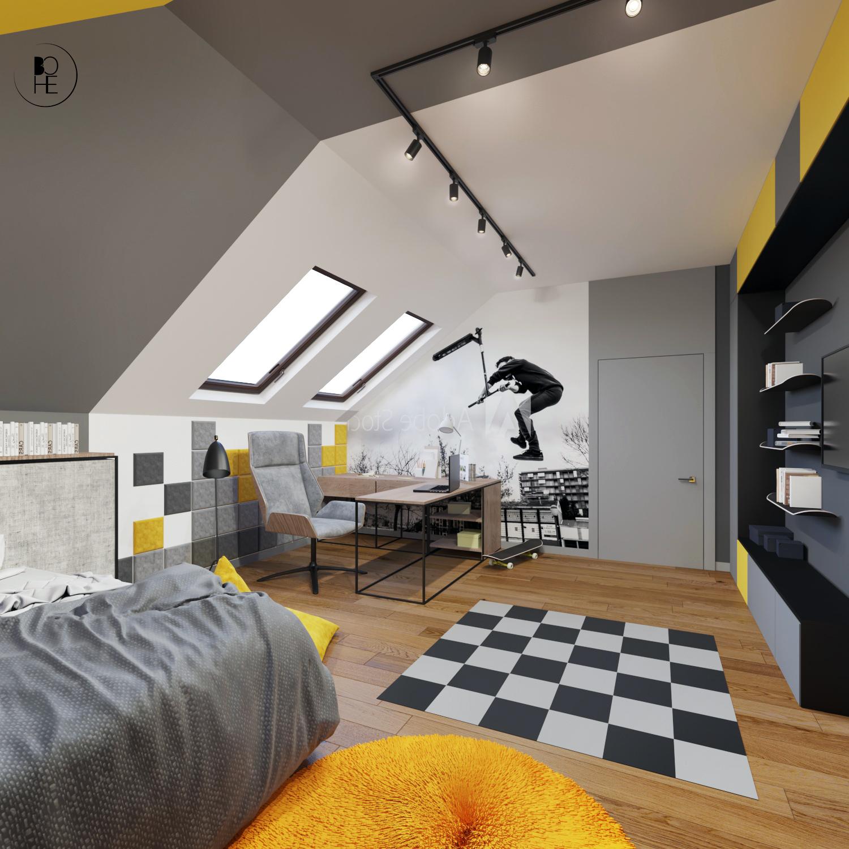 pokój dla chłopca na poddaszu z kącikiem do nauki biuro projektowe białystok bohe architektura