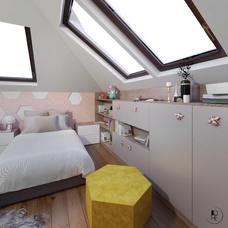 pokój dziecka na poddaszu z dużym łóżkiem architekt Białystok