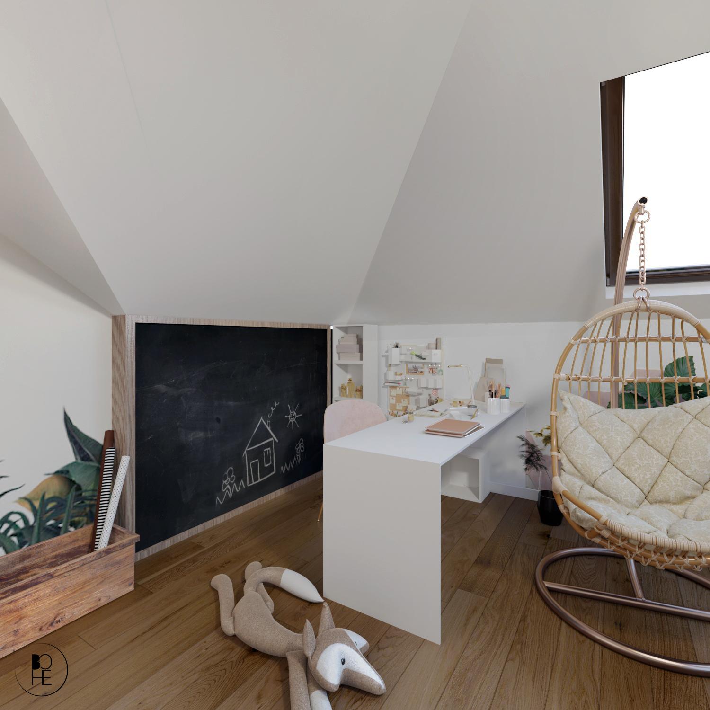 pokój z biurkiem dla dziecka i tablica kredowa Białystok