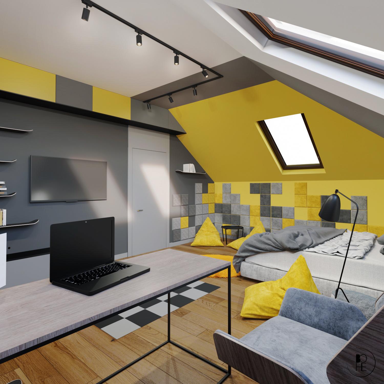 projektant wnętrz białystok pokój dla chłopca z telewizorem