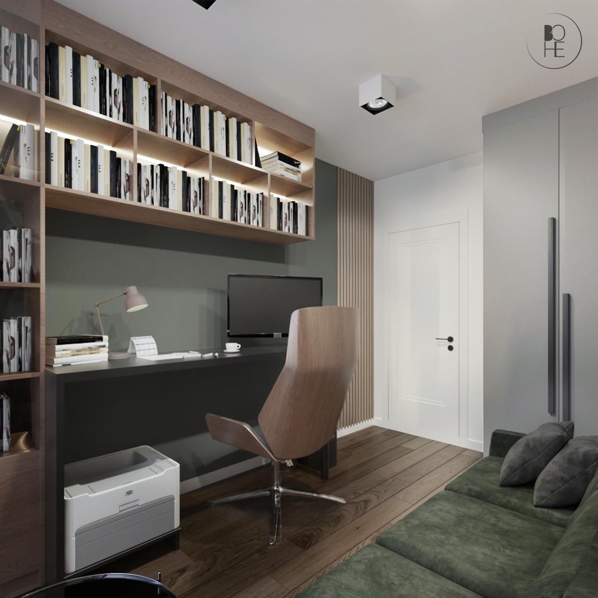 Projekt domowego biura w Warszawie architekt wnętrz