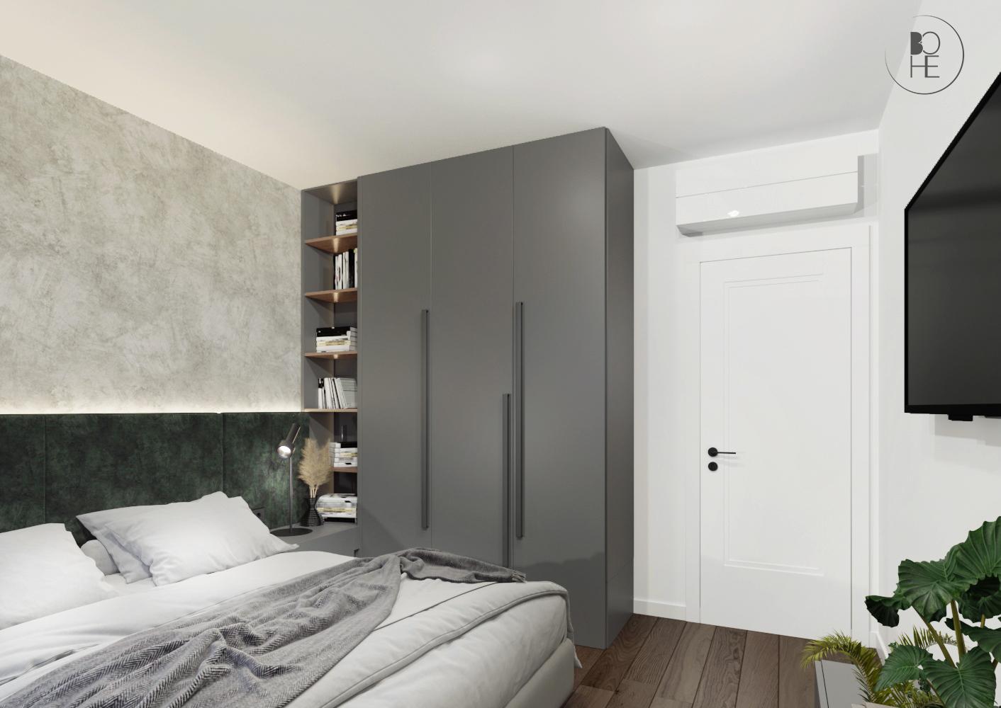 Projekt sypialni w ziemistych barwach architekt wnętrz Warszawa