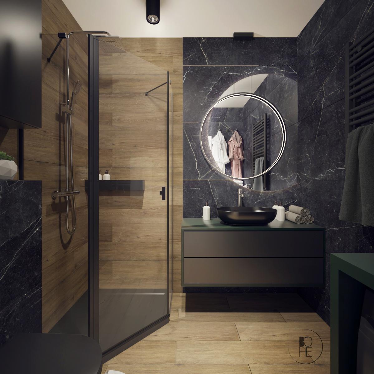 architekt wnętrz Łódź Projekt łazienki w z okrągłym lustrem i rysunkiem kamienia
