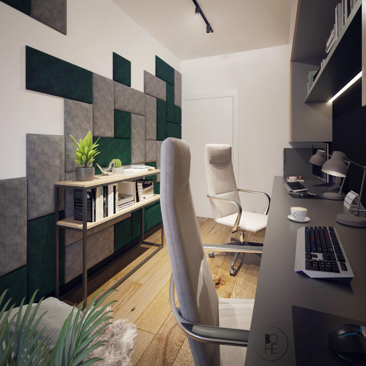 architekt wnętrz Łódź aranżacja nowoczesnego domowego biura w zielono szarych barwach