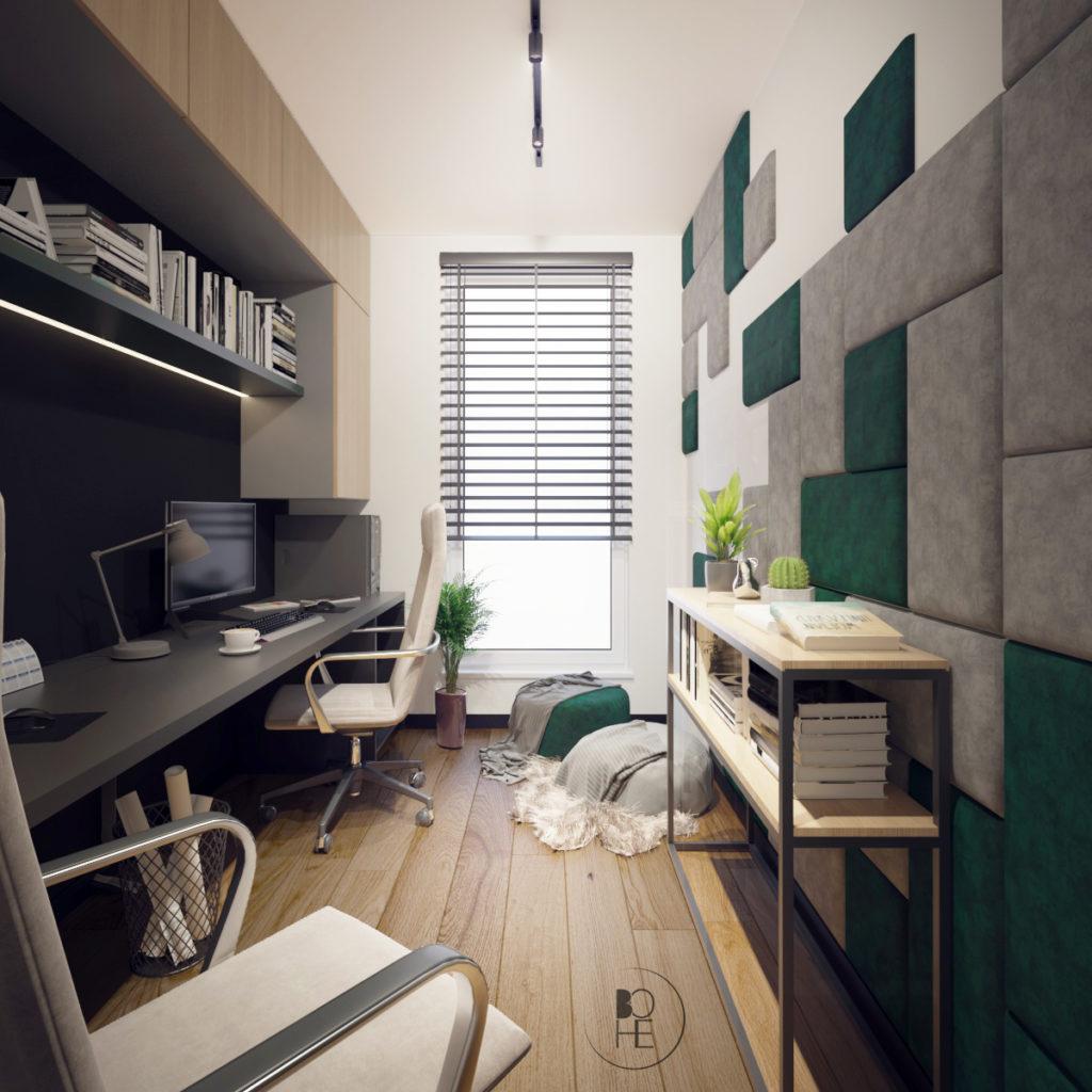 architekt wnętrz Łódź projekt domowego biura z wysoką zabudową w zielono szarych barwach