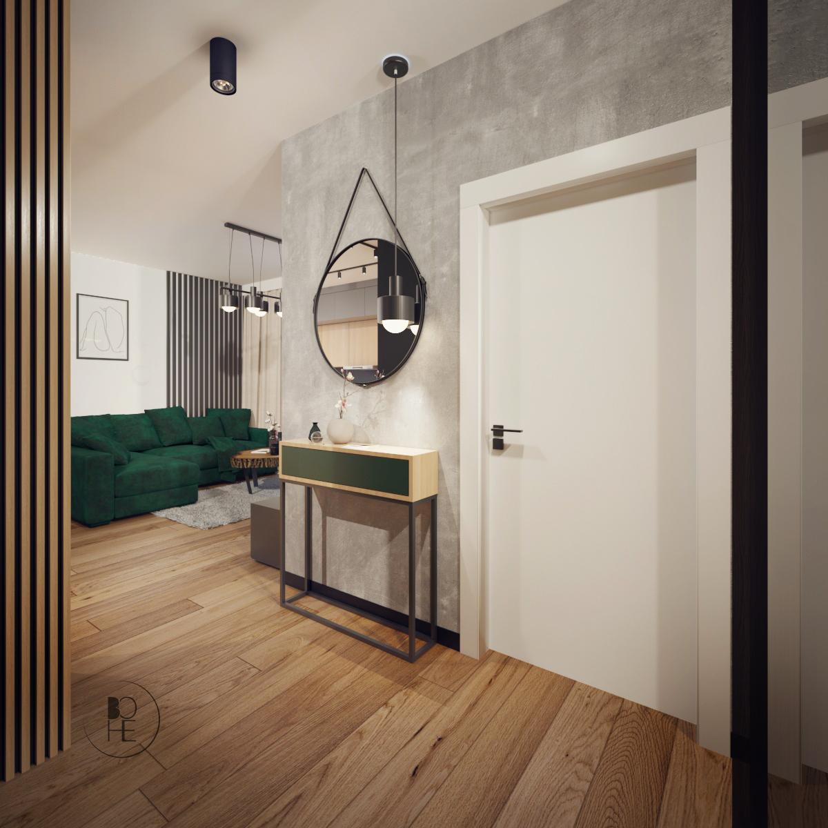 architekt wnętrz Łódź projekt korytarza z okrągłym lustrem w szarości i drewnie