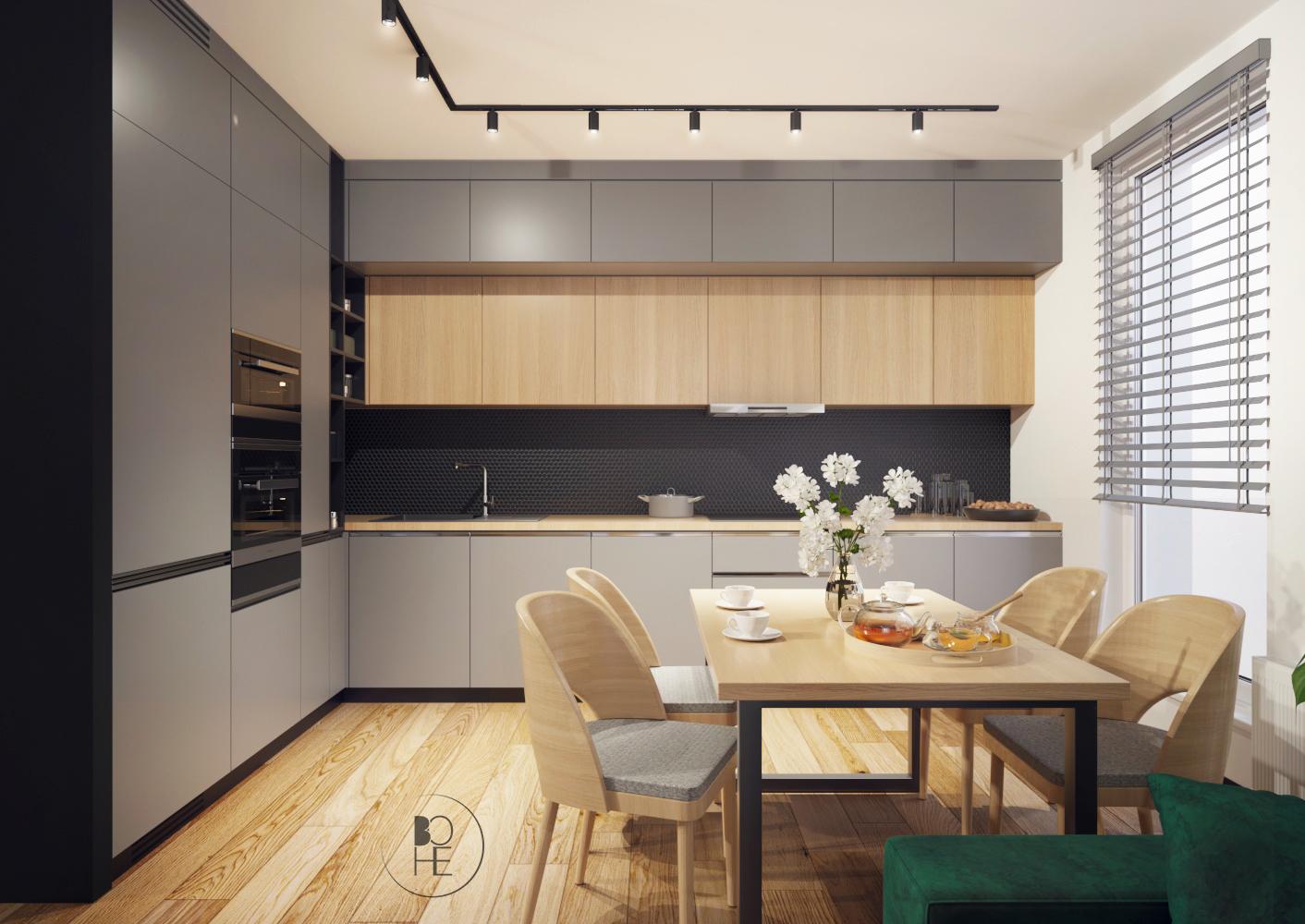 architekt wnętrz Łódź projekt kuchni z czarna mozaika raw decor