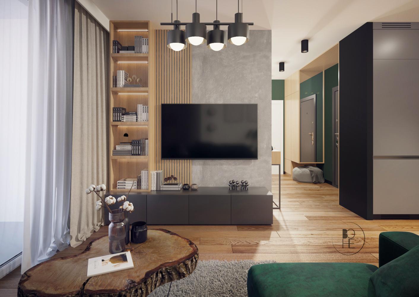 architekt wnętrz Łódź projekt salonu z lamelami w zielono szarych barwach