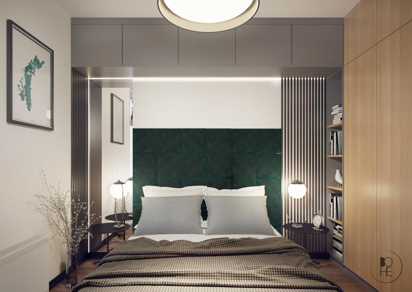 architekt wnętrz Łódź projekt wnętrza sypialni w zieleni i drewnie w Łodzi