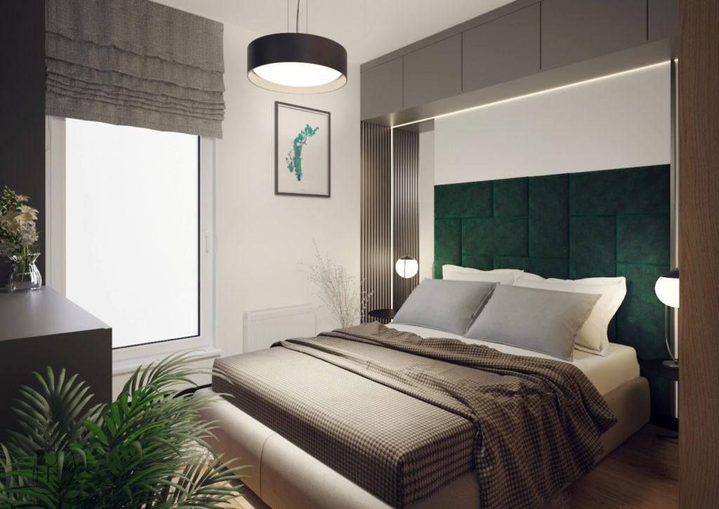 architekt wnętrz Łódź projekt wnętrza sypialni z dużym łóżkiem i tapicerowanymi panelami