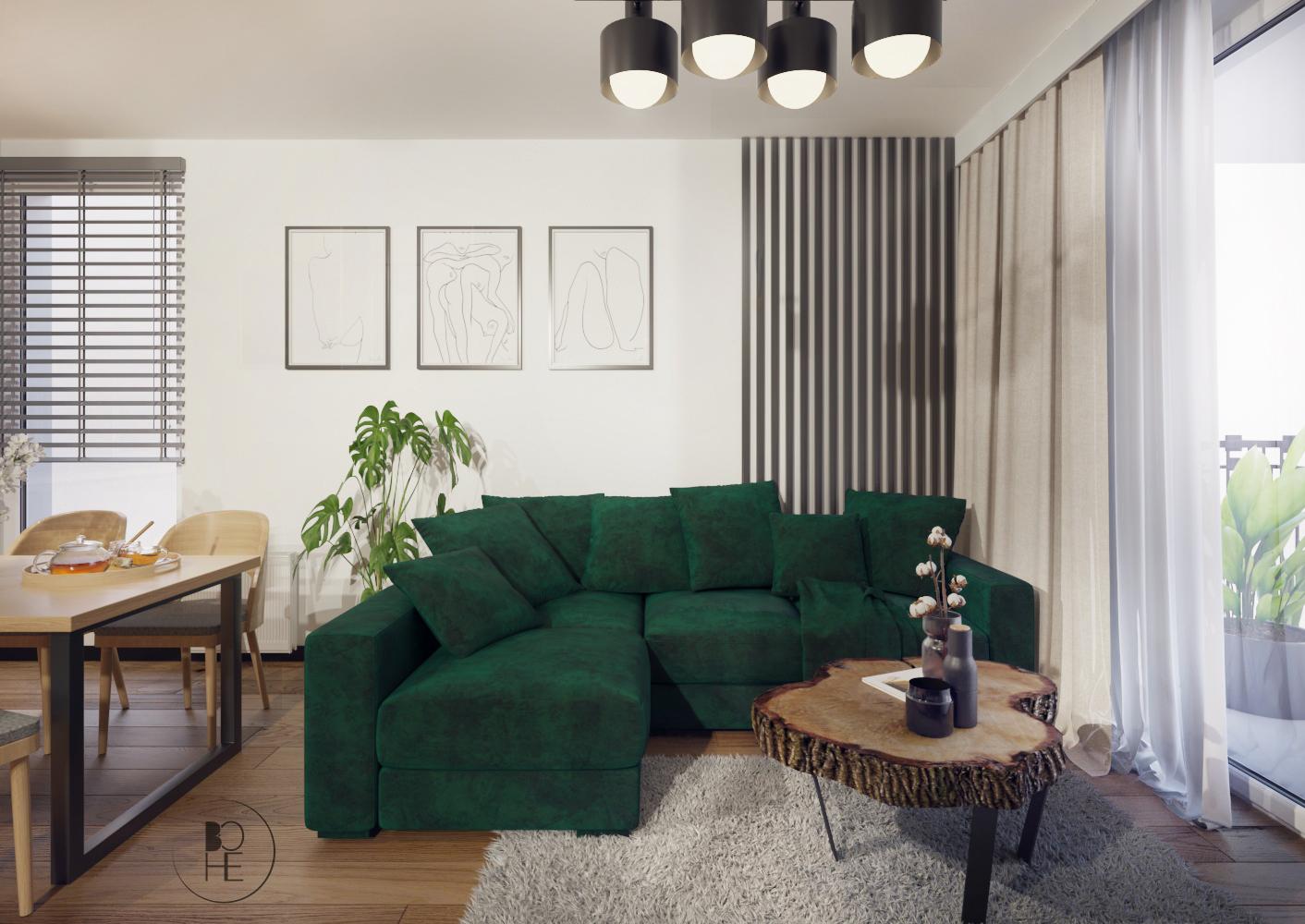 architekt wnętrz Łódź salon z zieloną sofą i szarym dywanem