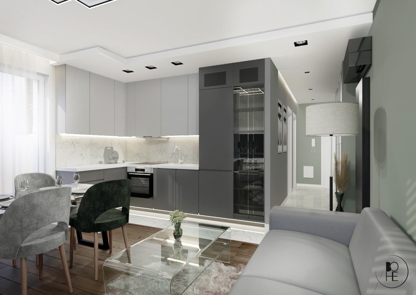 architekt wnętrz Warszawa projekt salonu z aneksem kuchennym