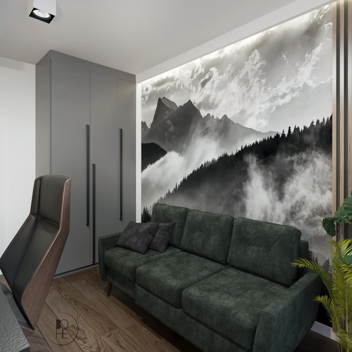 architekt wnętrz Warszawa zielona sofa do gabinetu