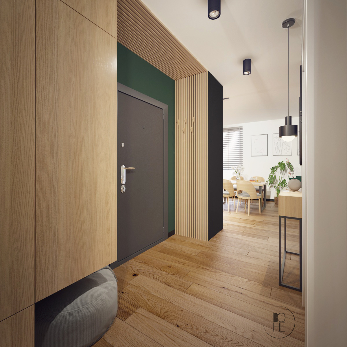 biuro architektoniczne Łódź korytarz z wysoką zabudową