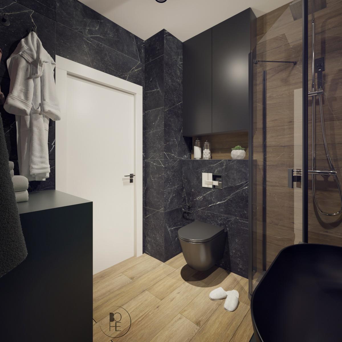 biuro projektowe Łódź Projekt łazienki w ciemnych barwach z zielonymi akcentami drewnopodobnymi płytkami