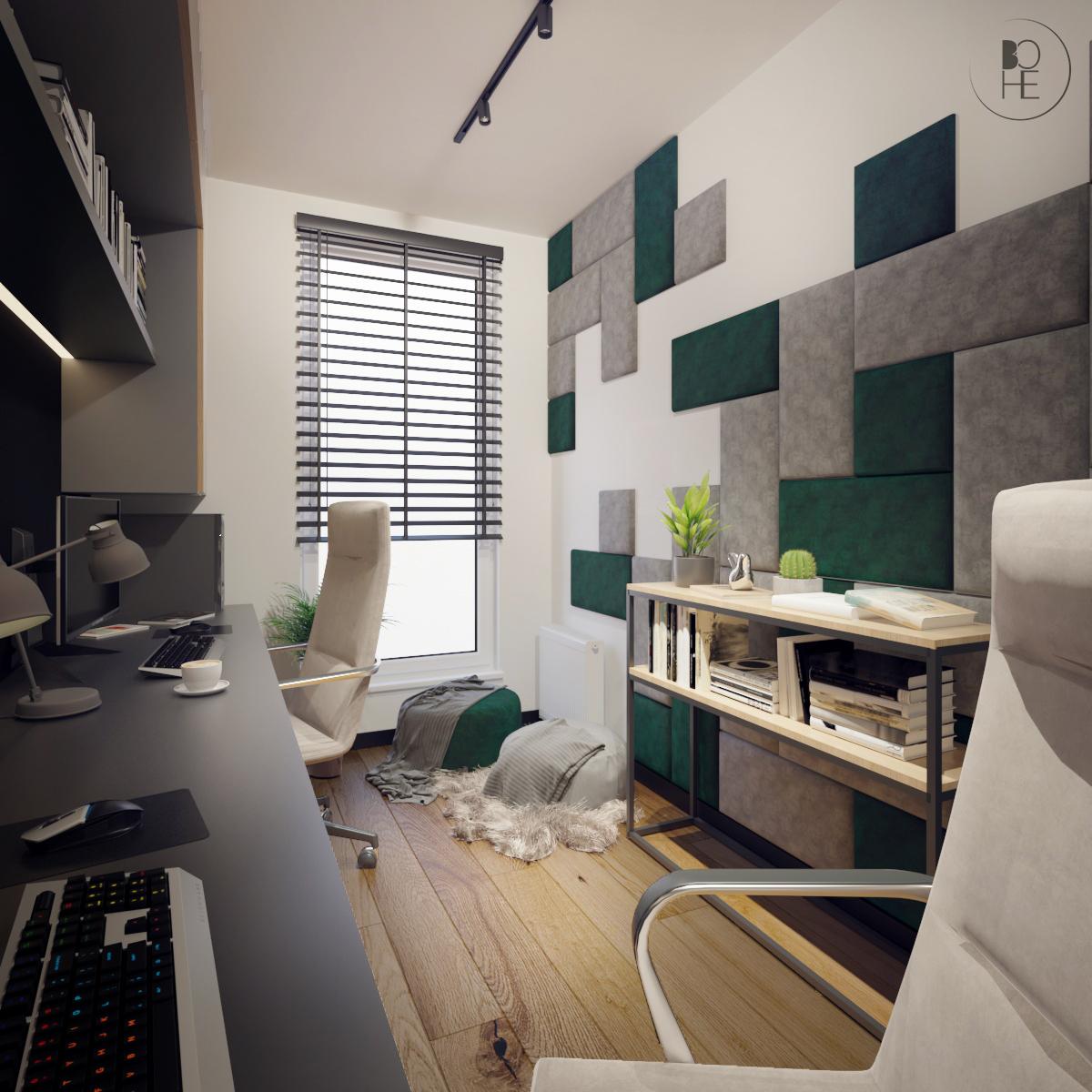 biuro projektowe Łódź aranżacja domowego biura z tapicerowanymi panelami
