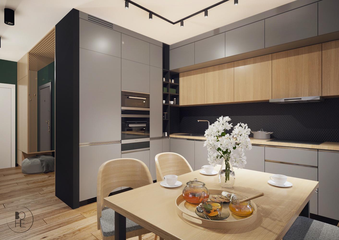 biuro projektowe Łódź aranżacja kuchni ze stołem z drewnianymi krzesłami