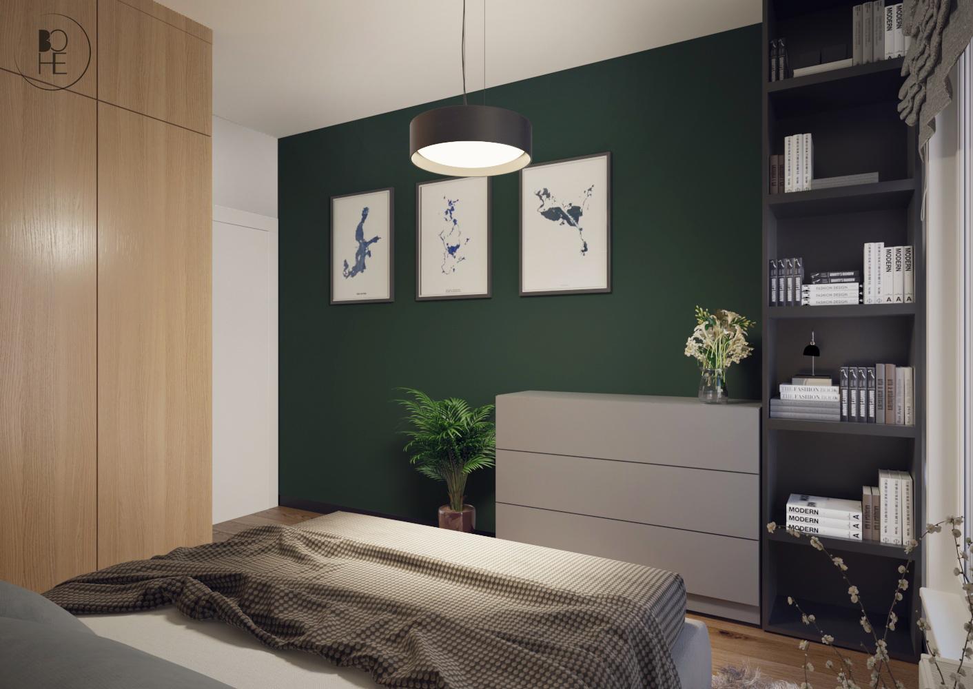 biuro projektowe Łódź aranżacja sypialni z zieloną ścianą i okrągłą lampą