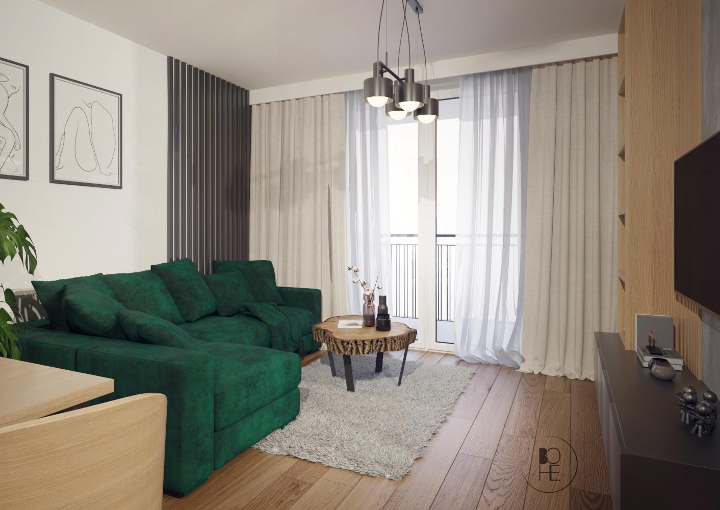 biuro projektowe Łódź projekt nowoczesnego salonu z szarym dywanem i zasłonami