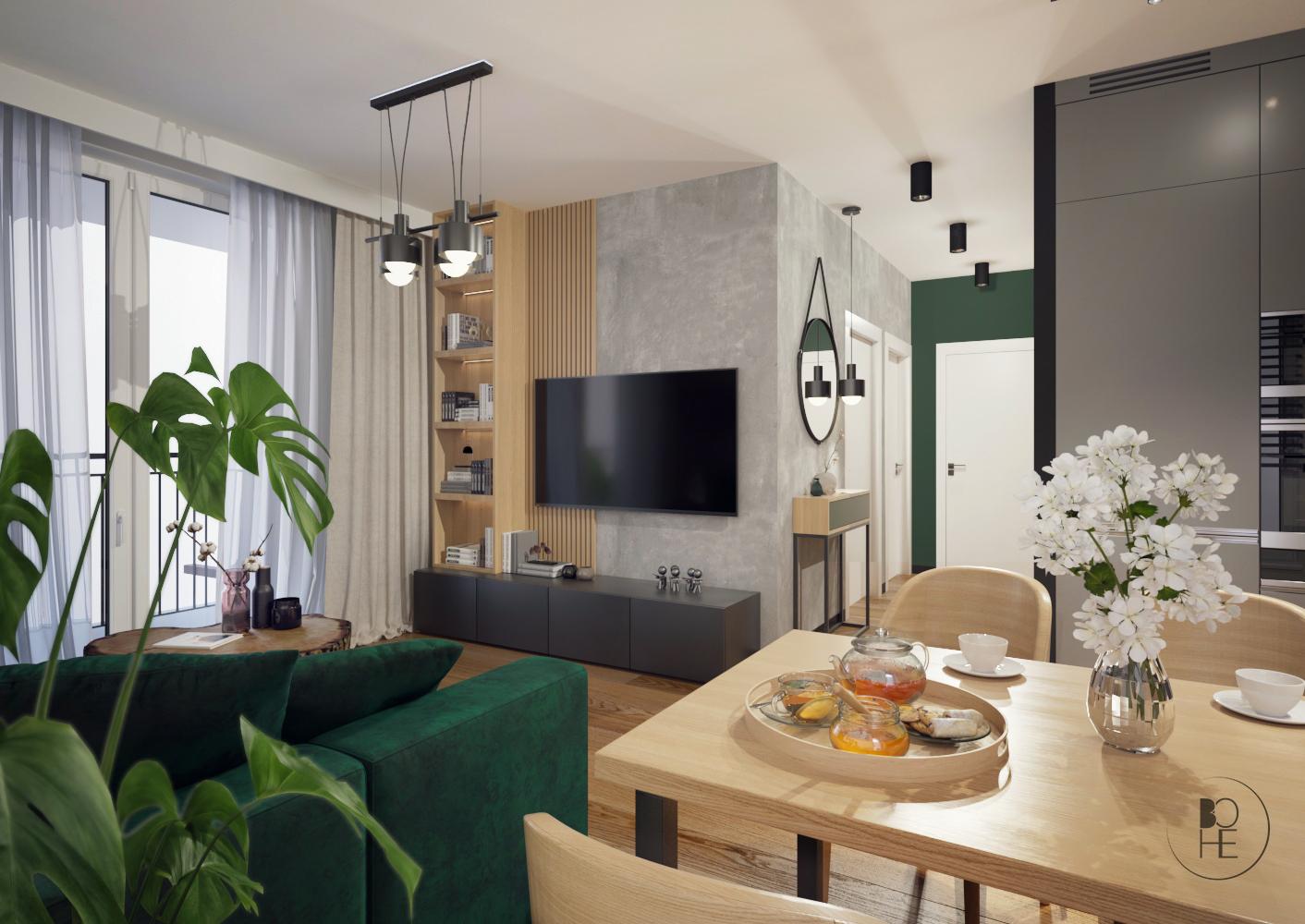 biuro projektowe Łódź projekt salonu z drewnianym stołem