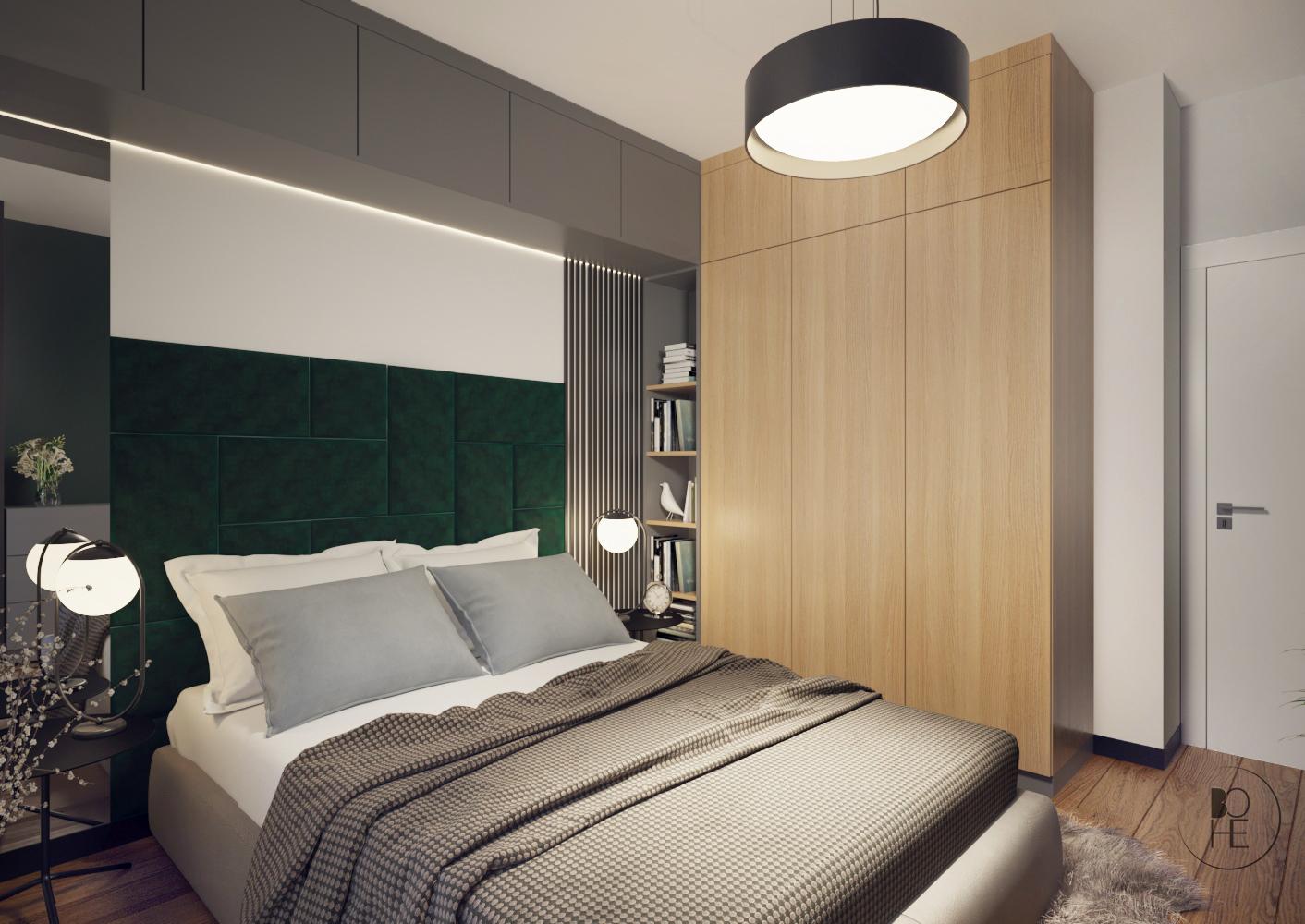 biuro projektowe Łódź projekt wnętrza sypialni z szarą i drewnopodobną zabudową