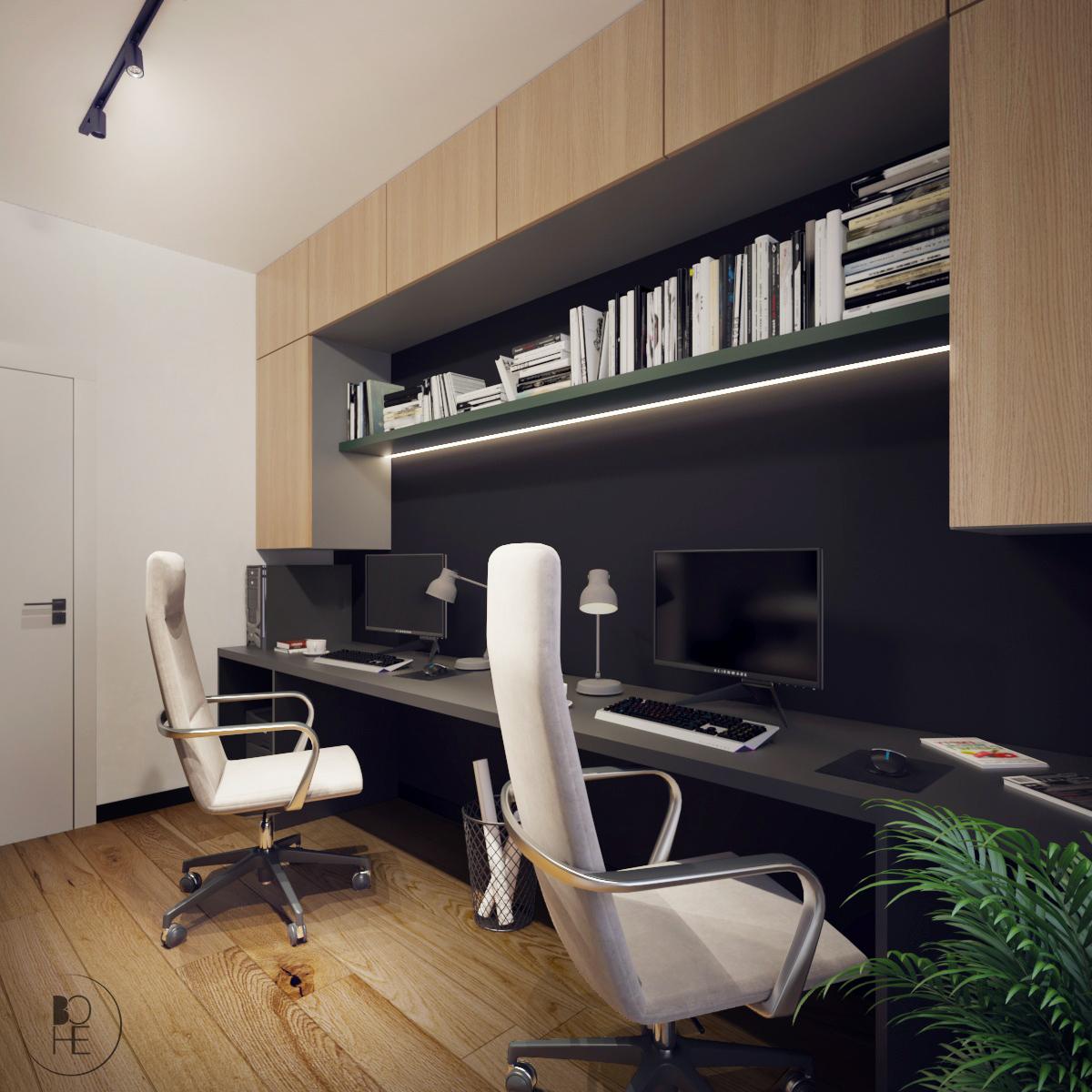 biuro projektowe Łódź aranżacja domowego biura z nowoczesnymi białymi fotelami
