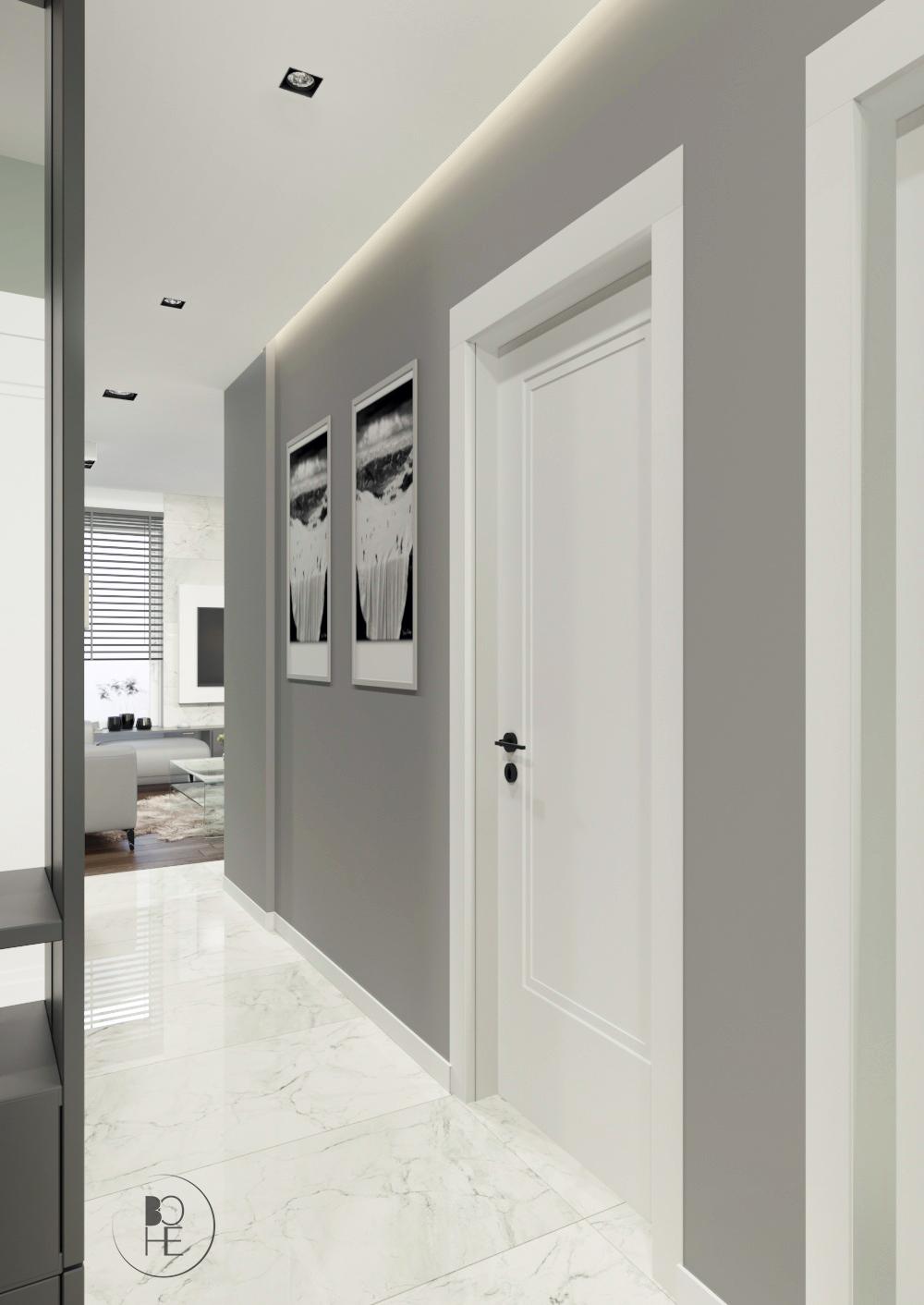 projekt korytarza z podwieszanym sufitem w szarym kolorze