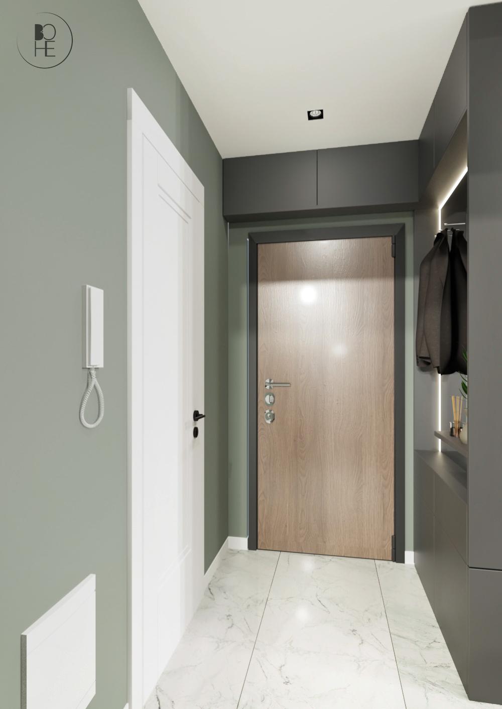 projekt korytarza z szafą z drewnianymi drzwiami