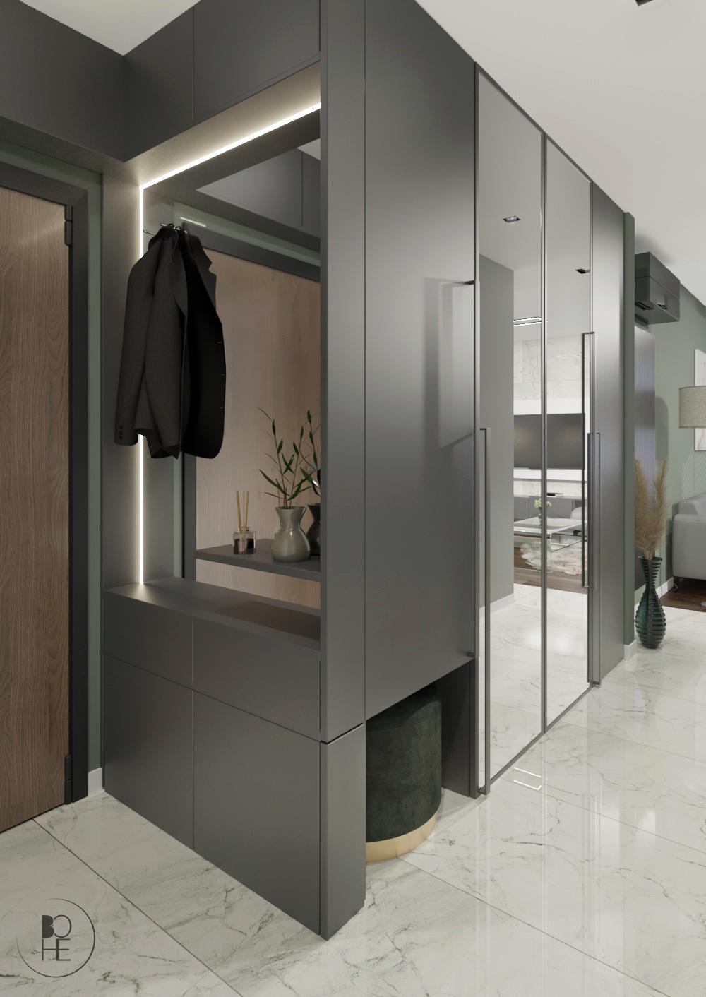 projekt wnętrza korytarza z dużą szafą i lustrami oraz zieloną pufą