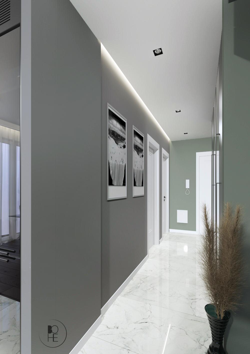 projekt wnętrza korytarza z podwieszanym sufitem i ledami