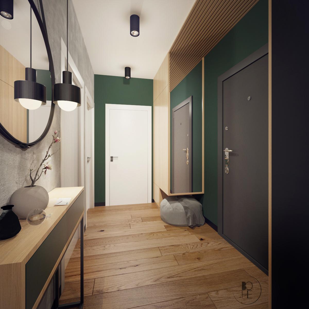 projektowanie wnętrz Łódź korytarz w zielono czarnych barwach