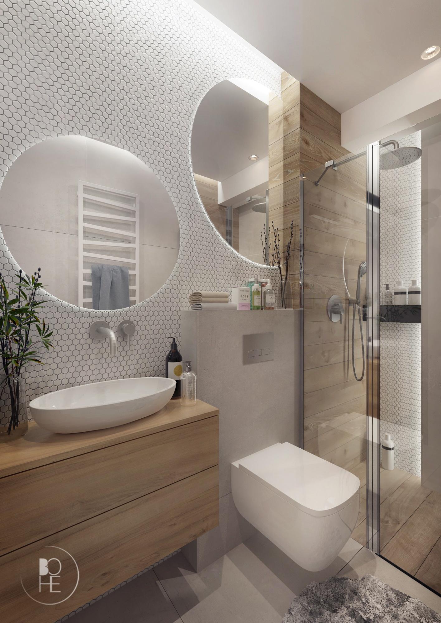 jasna łazienka z białą mozaiką architekt Łódź