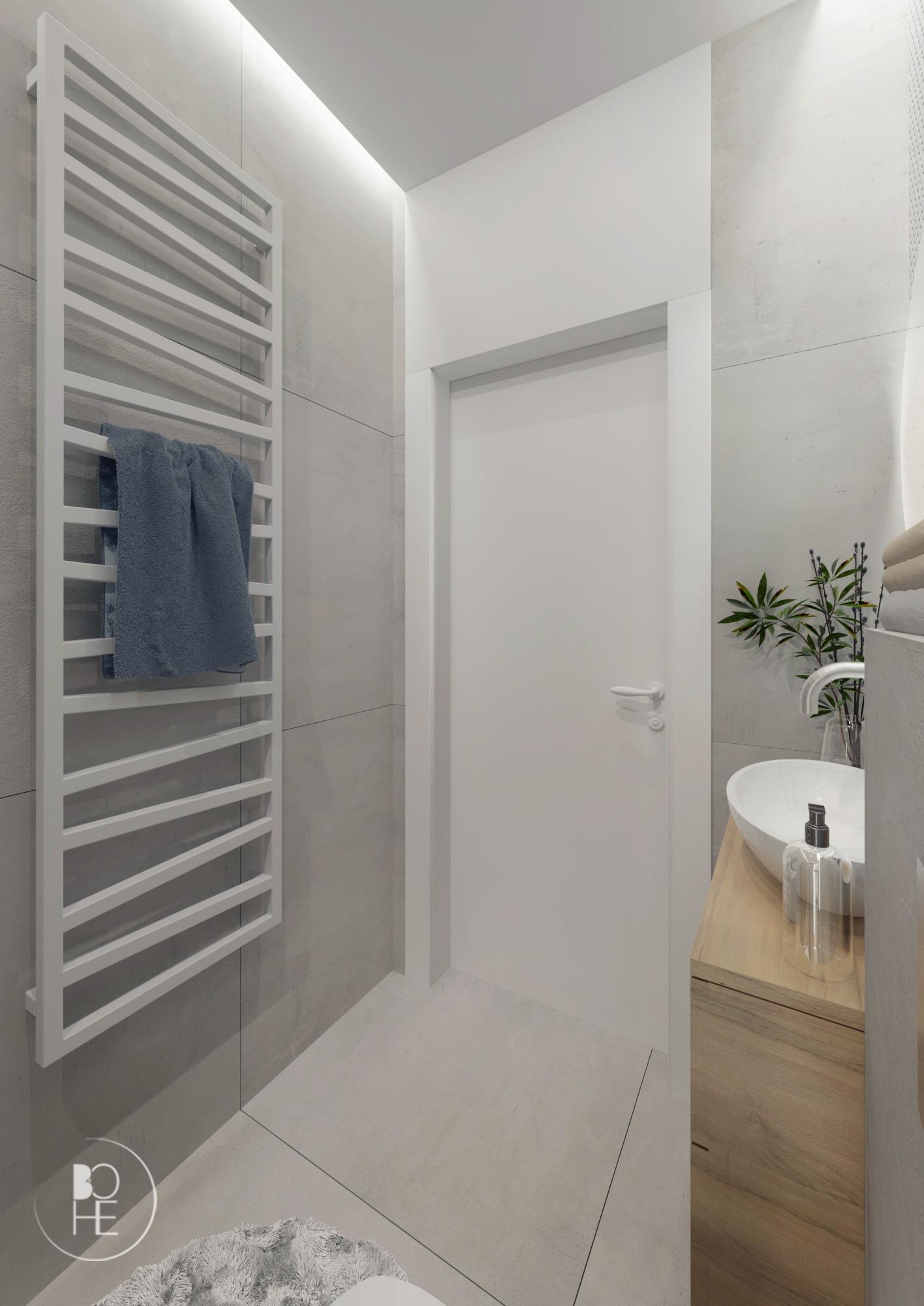 łazienka z białą mozaiką biuro projektowe Łódź