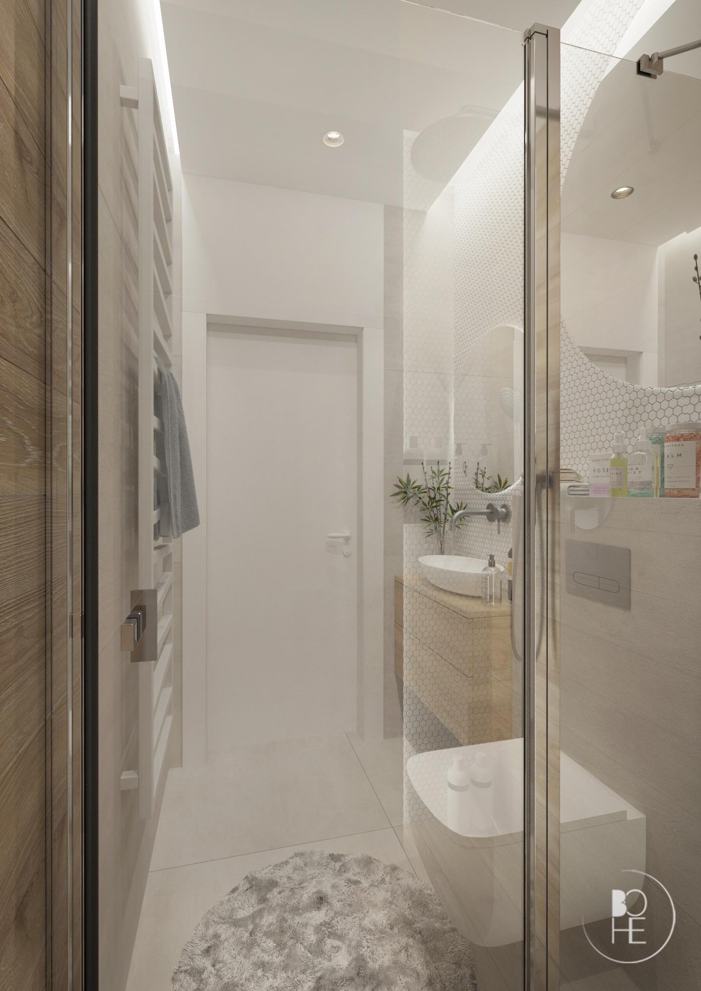projekt małej jasnej łazienki architekt Łódź