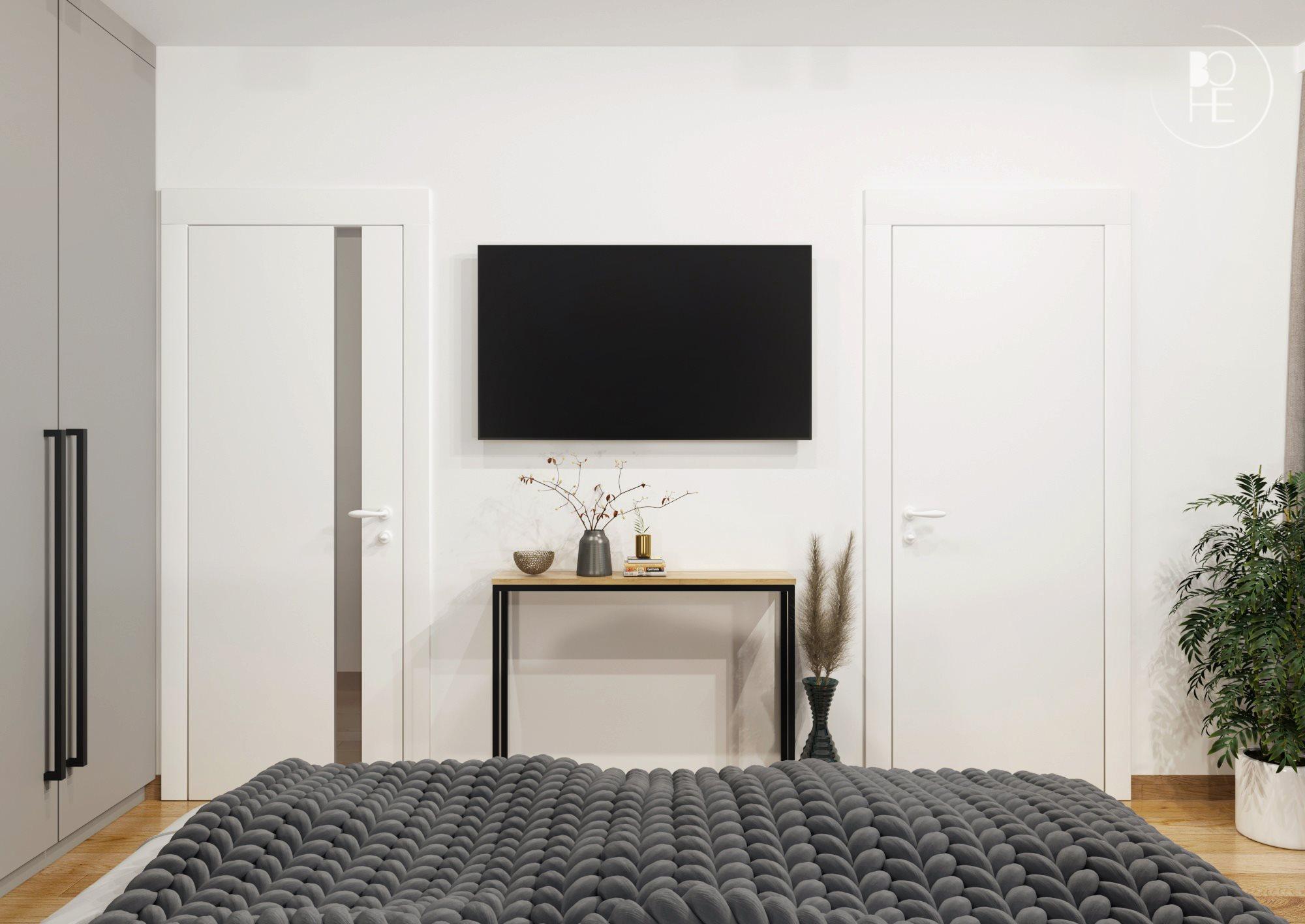 jasna sypialnia z telewizorem biuro projektowe Łódź