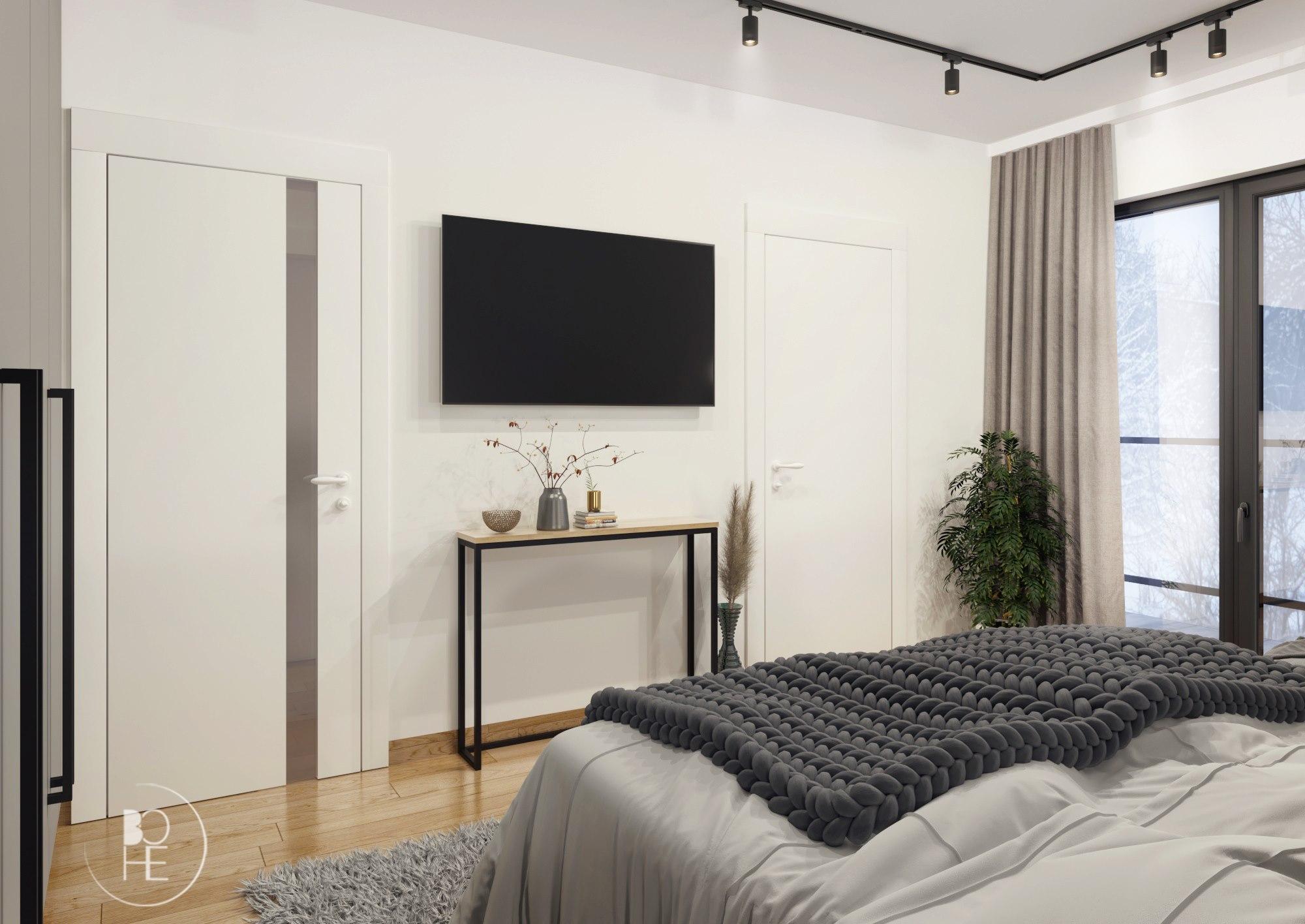 projekt sypialnia z telewizorem architekt Łódź