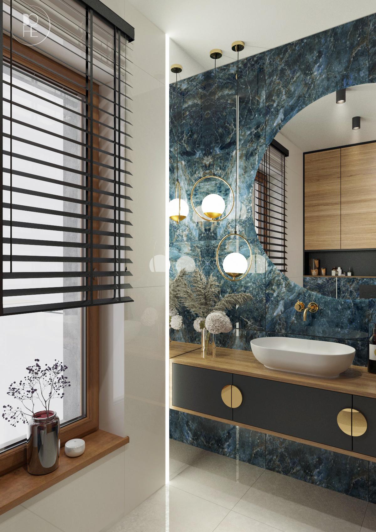 Projekt niebieskiej toalety z połączeniem drewna, bieli, czerni i złotych akcentów architekt wnętrz białystok 2