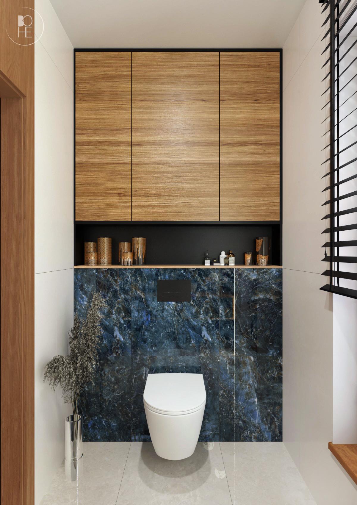 Projekt niebieskiej toalety z połączeniem drewna, bieli, czerni i złotych akcentów architekt wnętrz białystok 4
